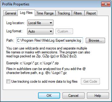 WebLog Expert Help - Log Files